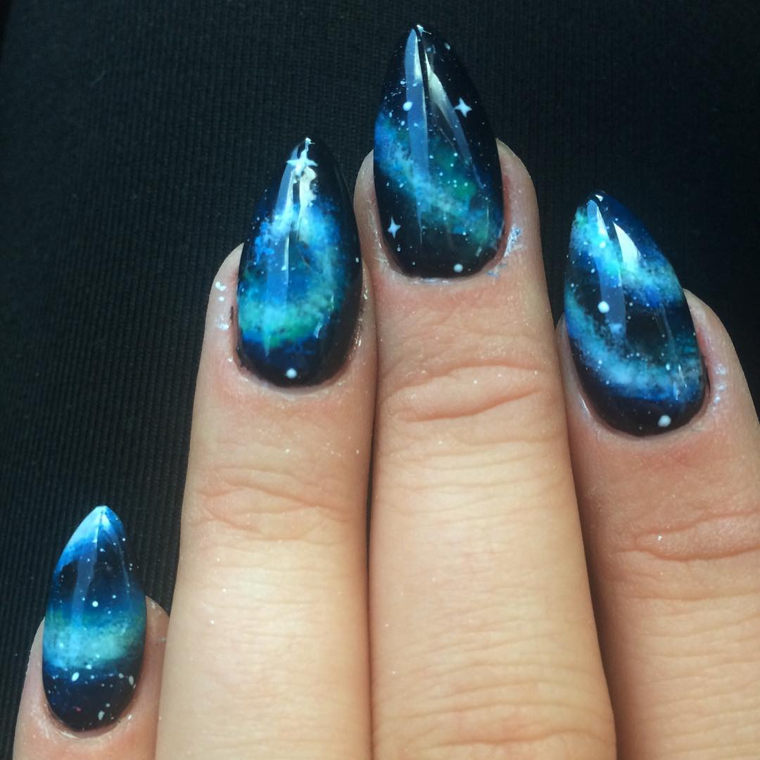 Black And Blue Stars Nail Design