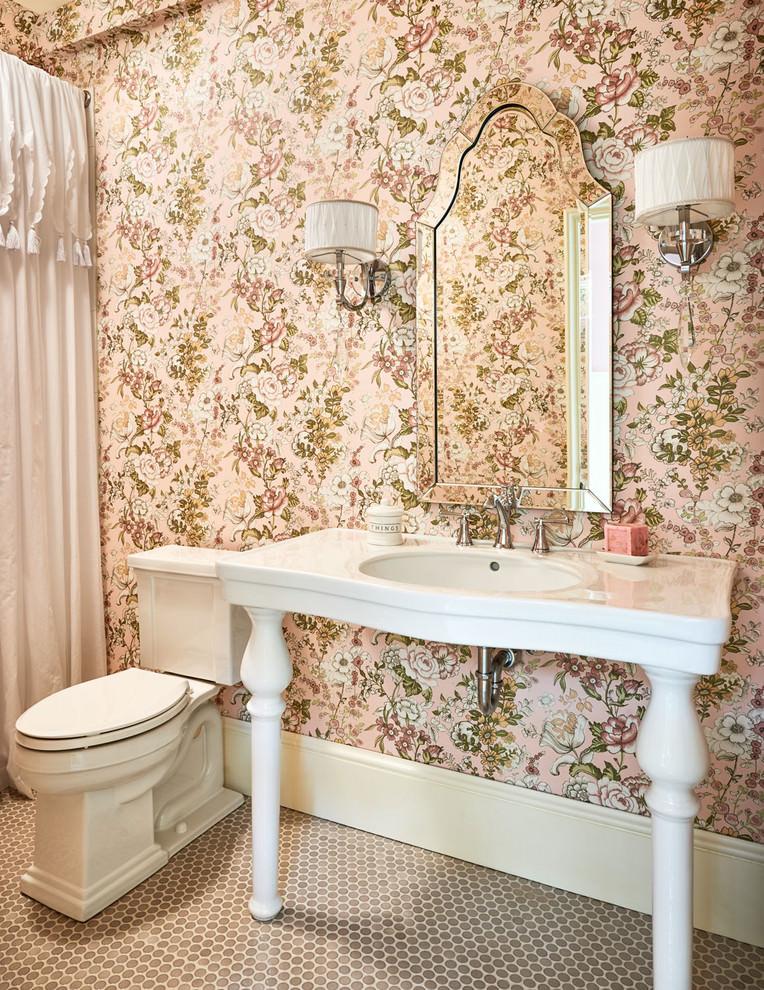 Bathroom Floral Wall Designs