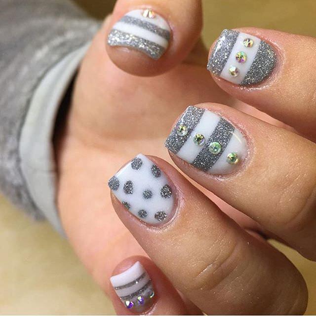 Gray Prom Nail Design