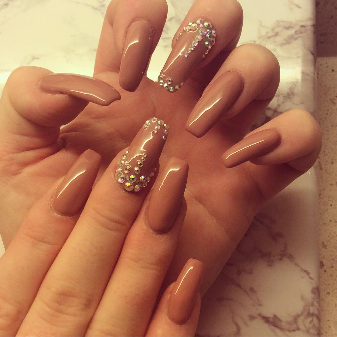 Beautiful Long Tan Nails