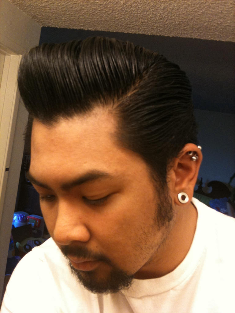 black pompadour hair