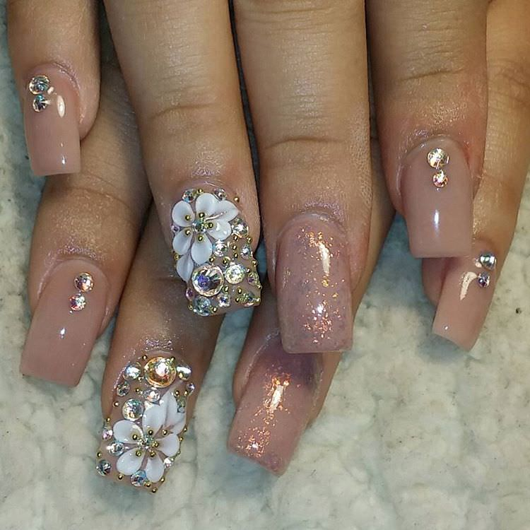 Flower Tan Nail Design