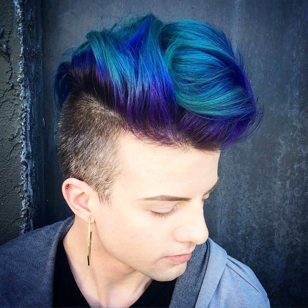 blue colored pompadour
