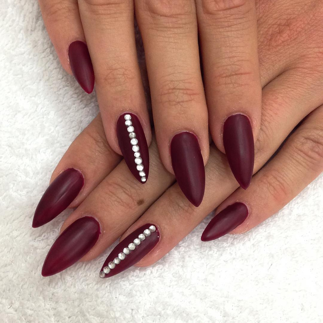 24+ Dark Red Nail Art Designs , Ideas  Design Trends