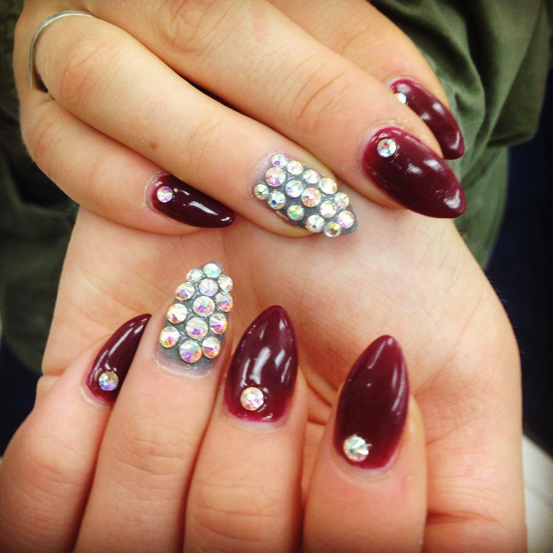 Attractive Red And White Stones Nail Design