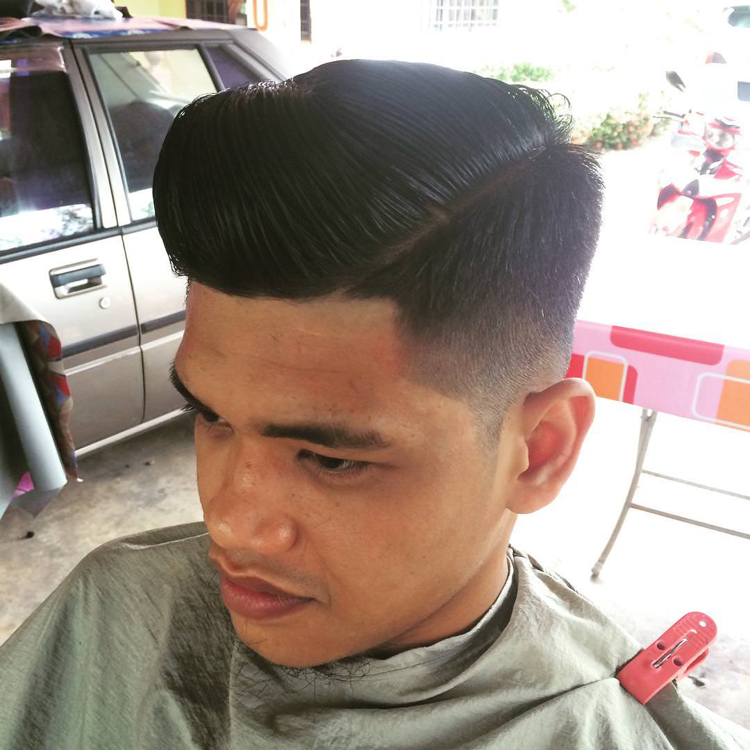 front raised pompadour cut