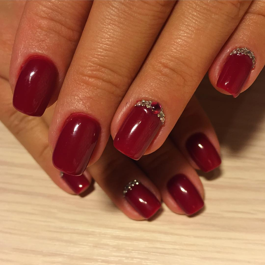 24+ Dark Red Nail Art Designs , Ideas
