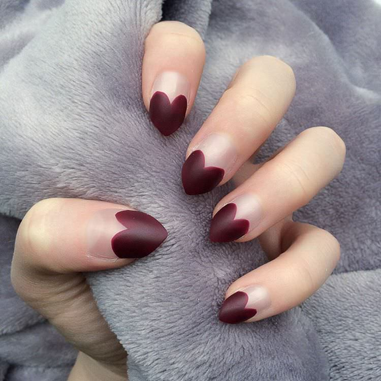 Dark Red Heart Nail Design
