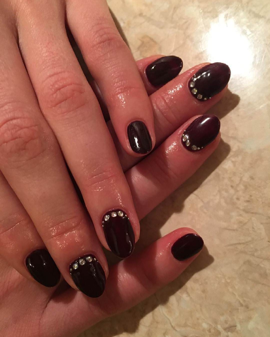 Stylish Dark Red Nail Design