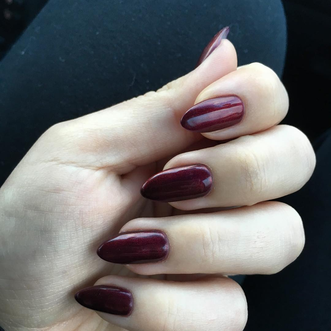 Lovable Dark Red Nail Design