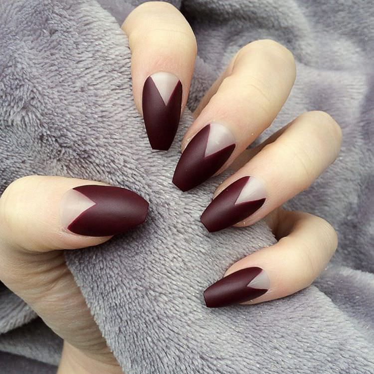 Unique Dark Red Nail Art