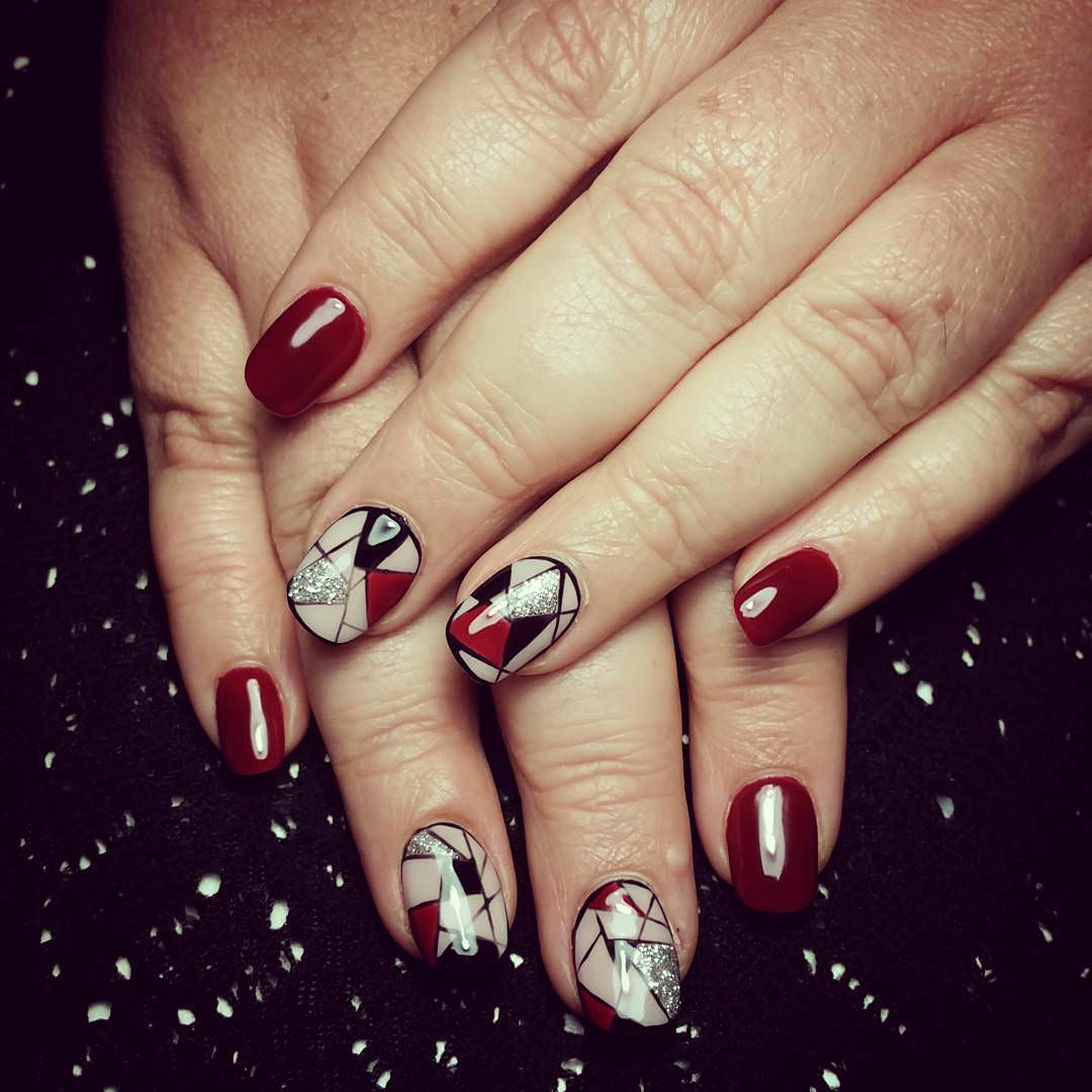 Dark Red And Black Nail Design