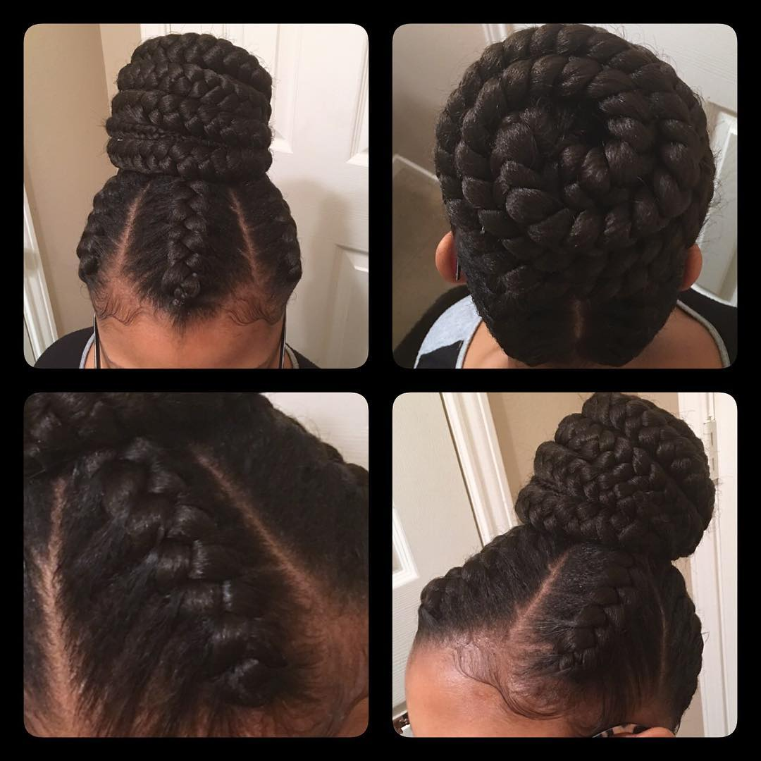 neat braided bun hair