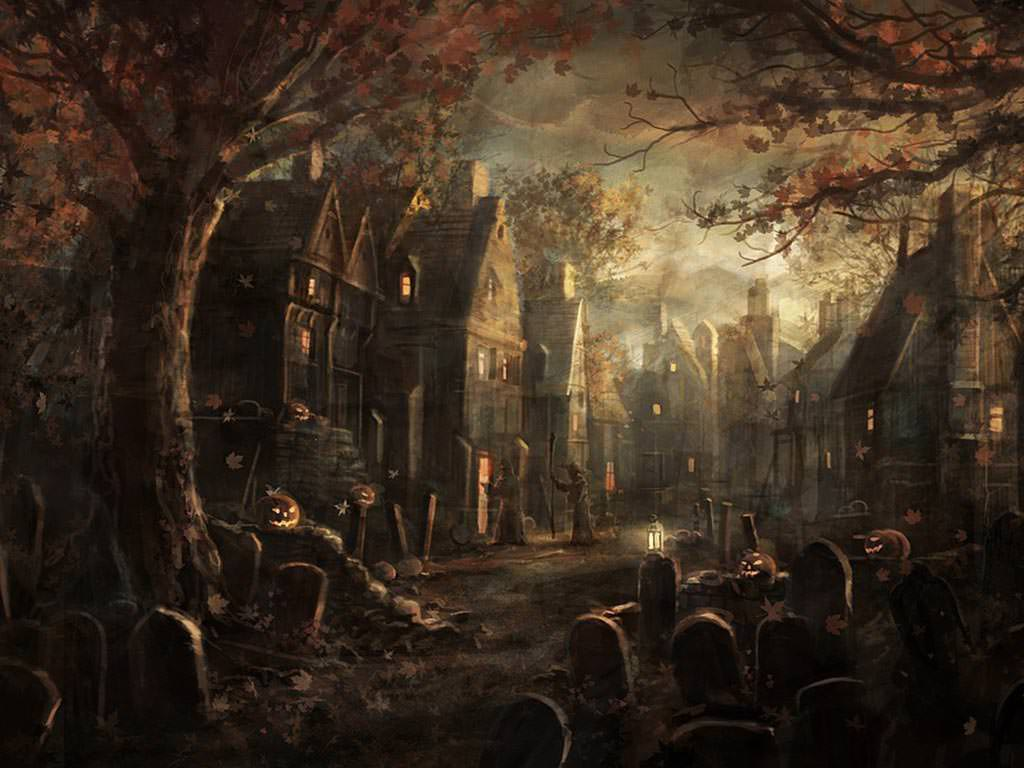 halloween street scary desktop background