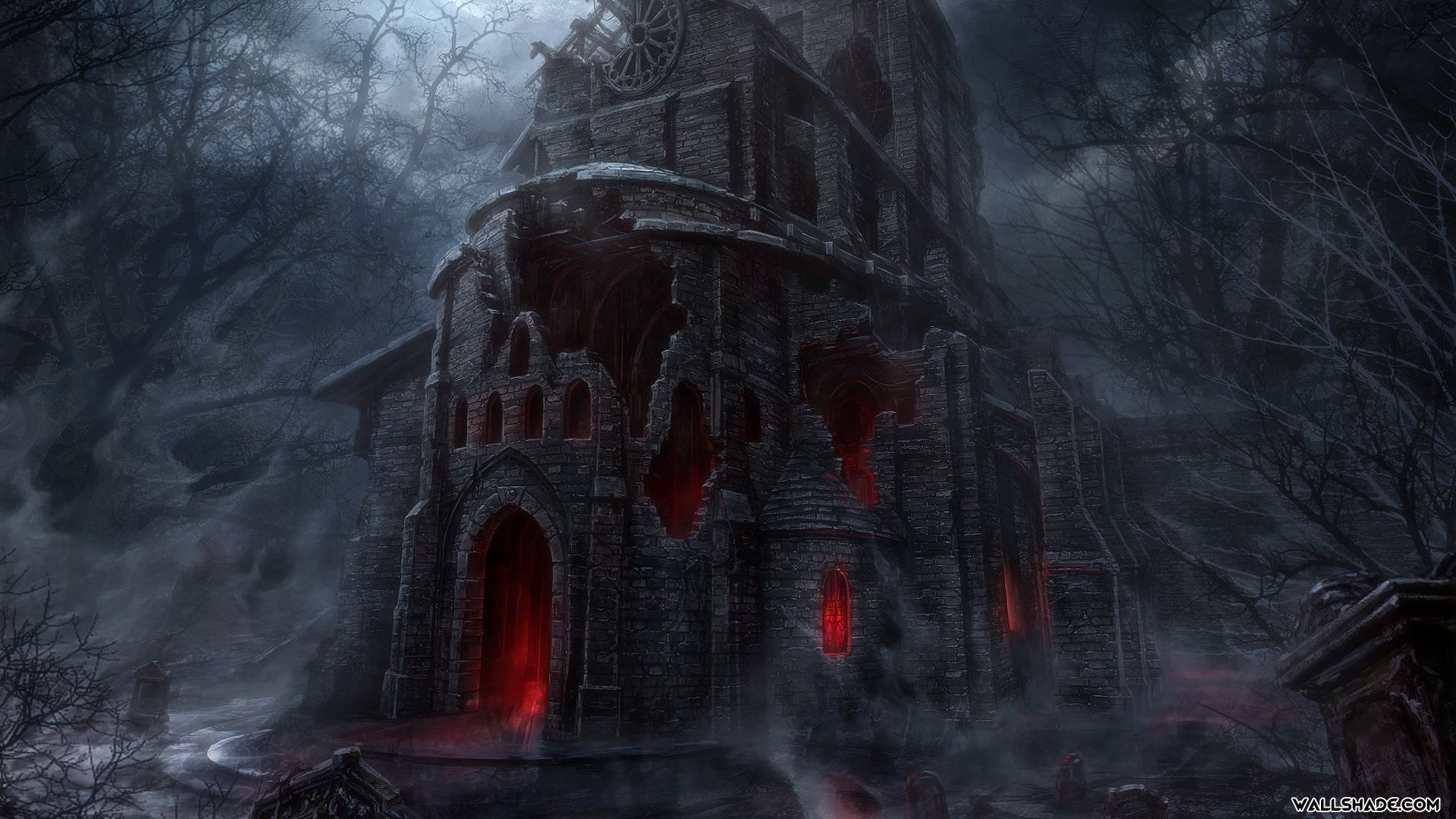 free scary house art desktop background