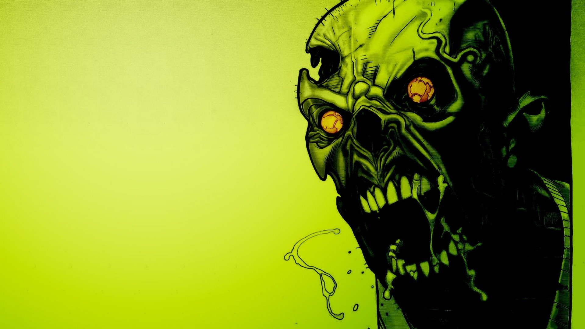full hd background of scary green skull