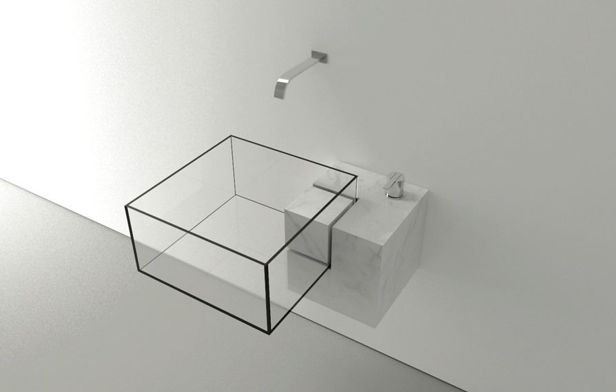 glassy cube bathroom sink ideas