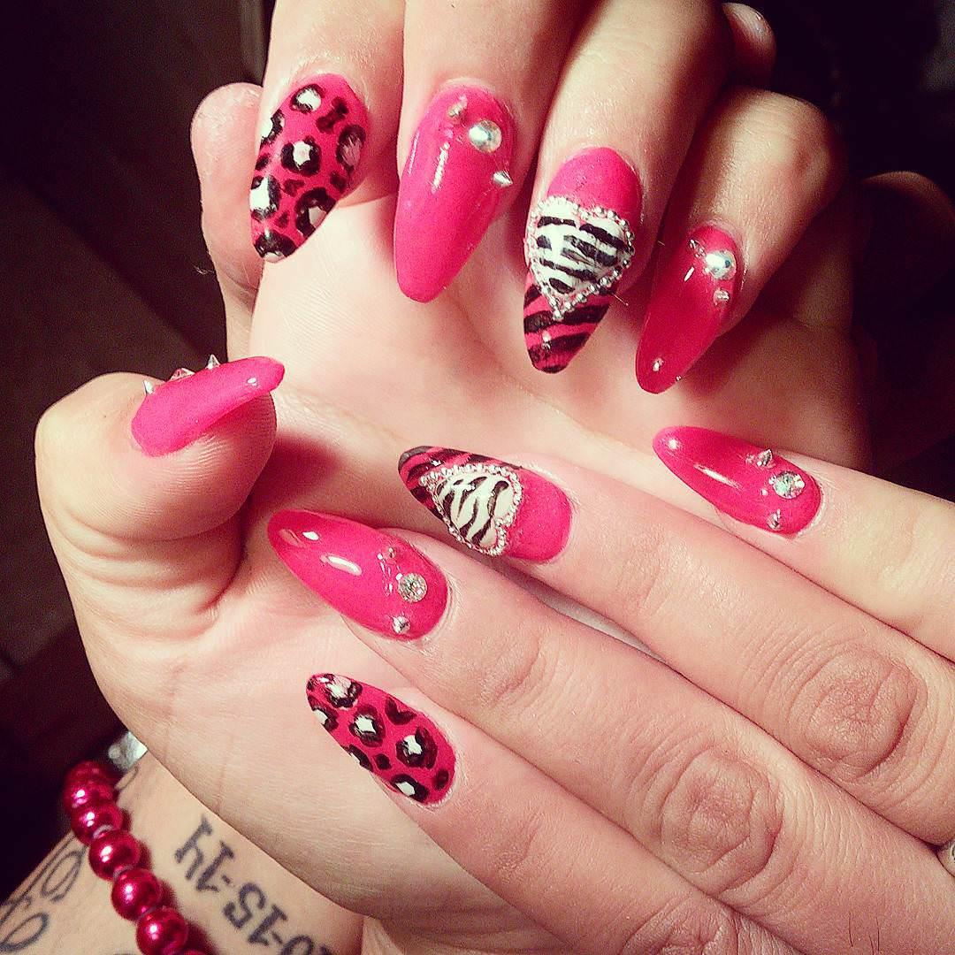 designed pink nails