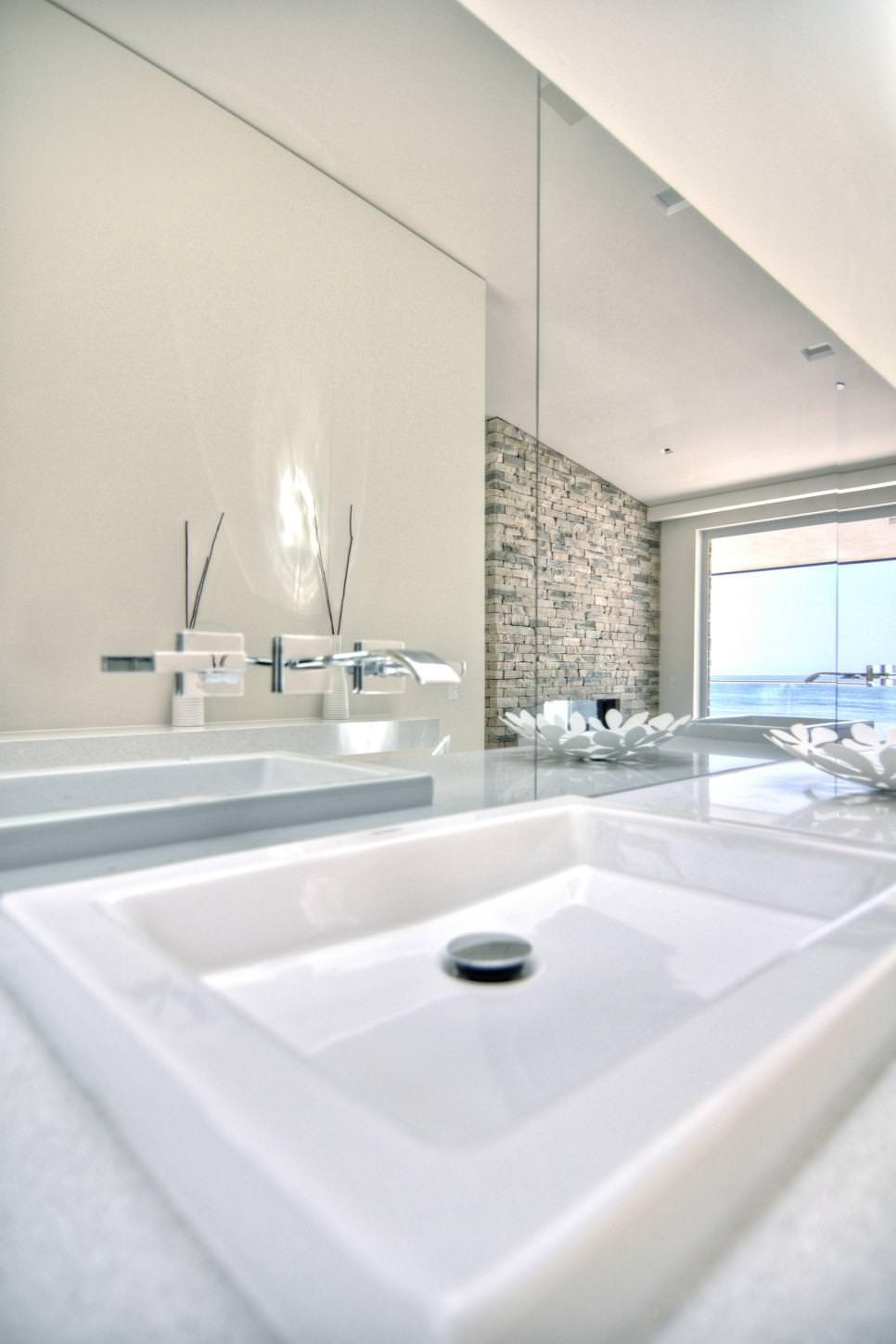 white modern bathroom sink ideas
