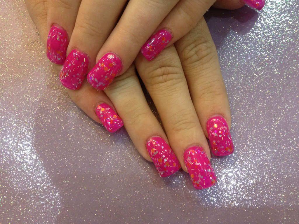 Dotted Glitter Nails - 25+ Pink Acrylic Nail Art, Designs, Ideas Design Trends