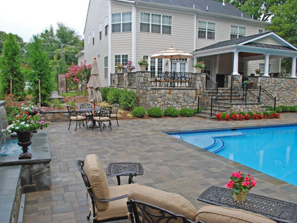 serene pool side patio designs