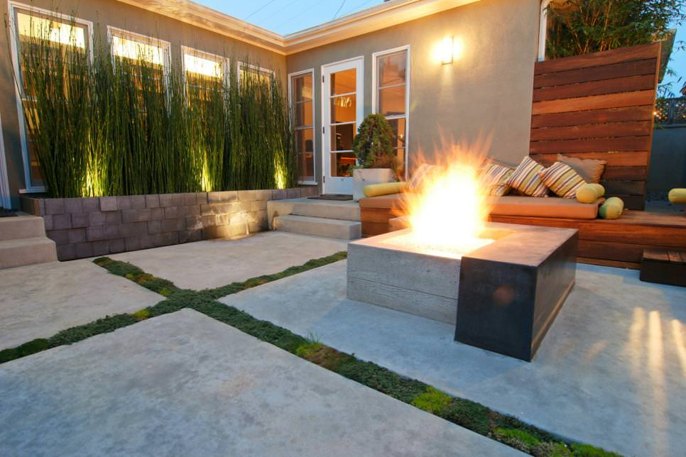 concrete patio pavers with fire pit