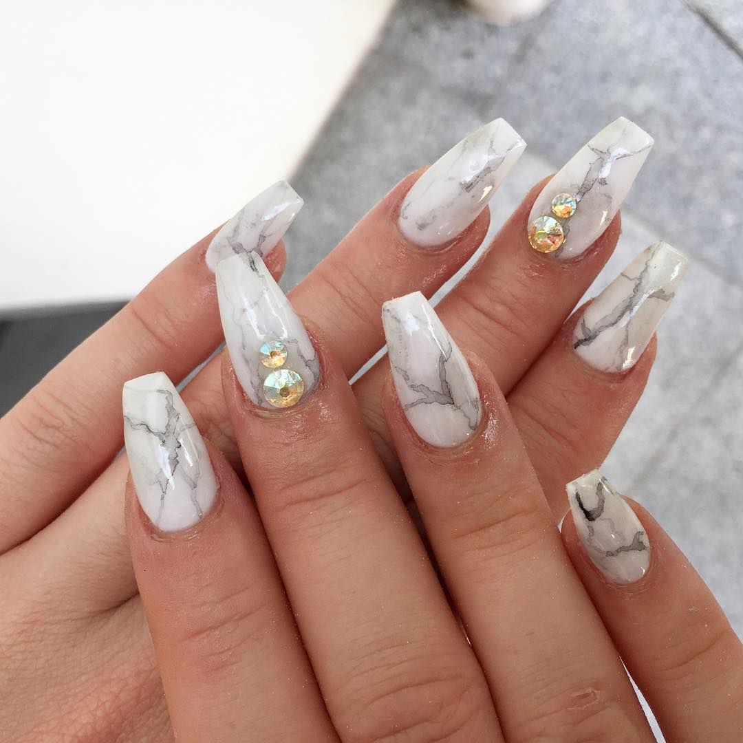 Marble Nails Acrylic Short Square