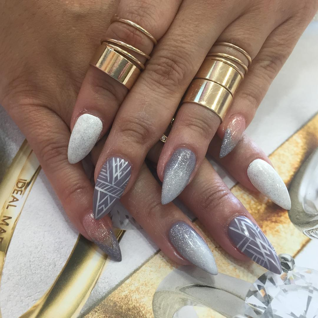 grey and white nail design