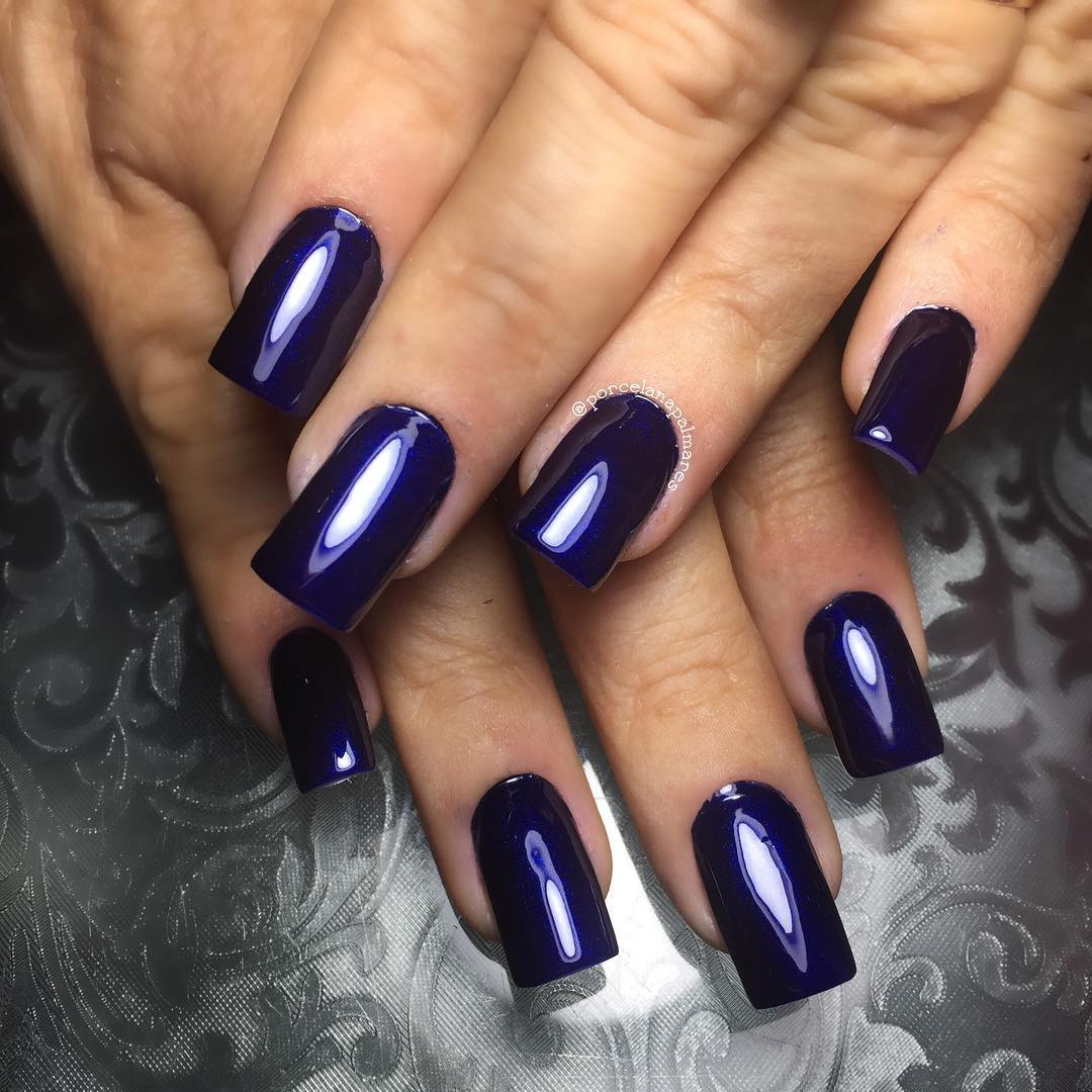 Dark Blue Acrylic Nails