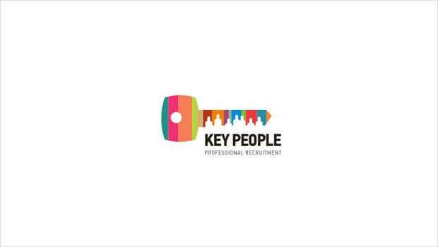 key with people colorful logo