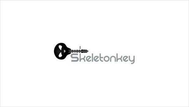 halloween type skeletonkey logo design