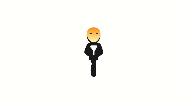 man and key logo style