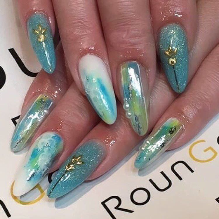lovely blue design nail art