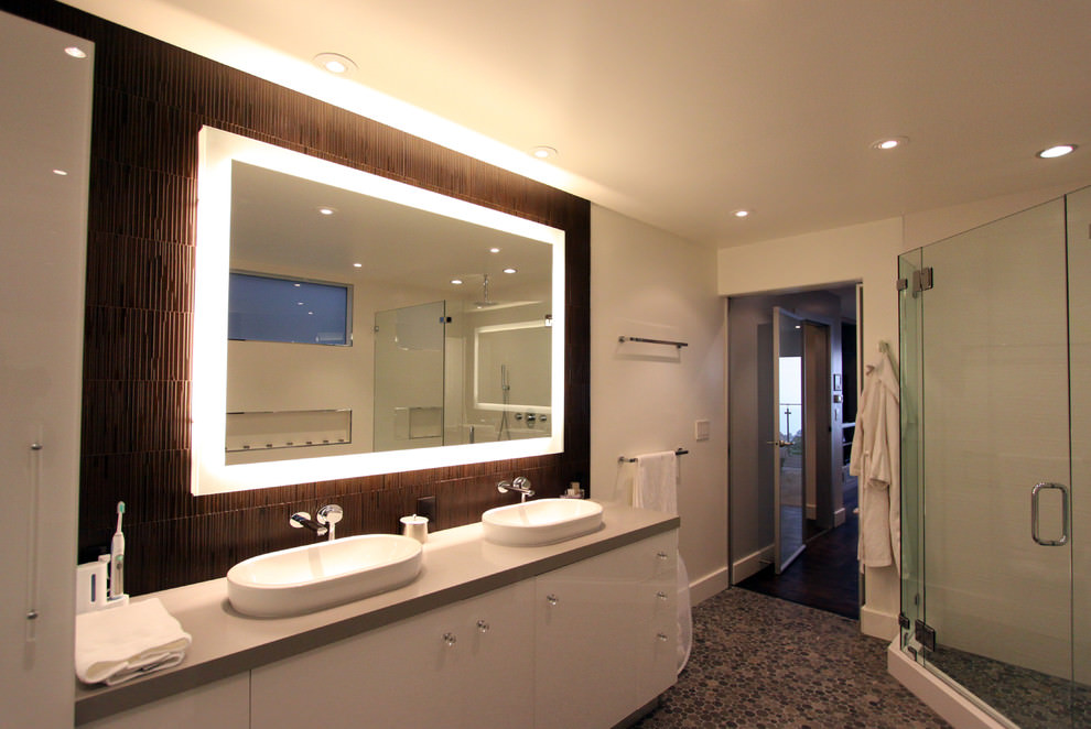 bathroom mirror with vanity top ideas