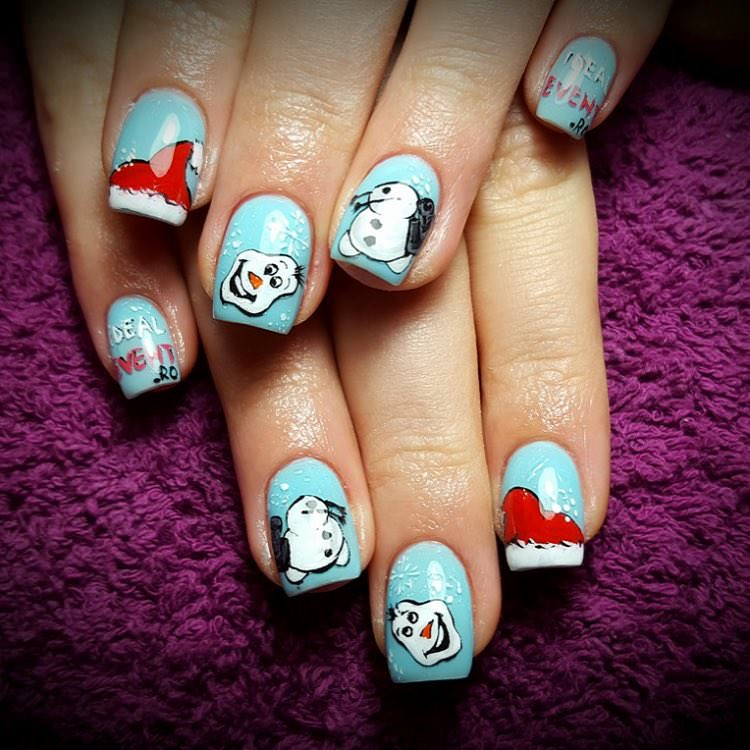 snow man nail design