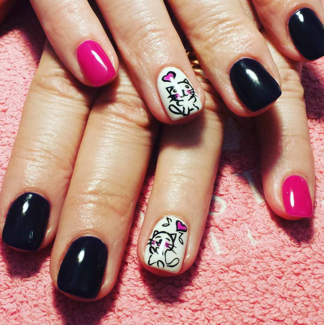 pink and black funny nails