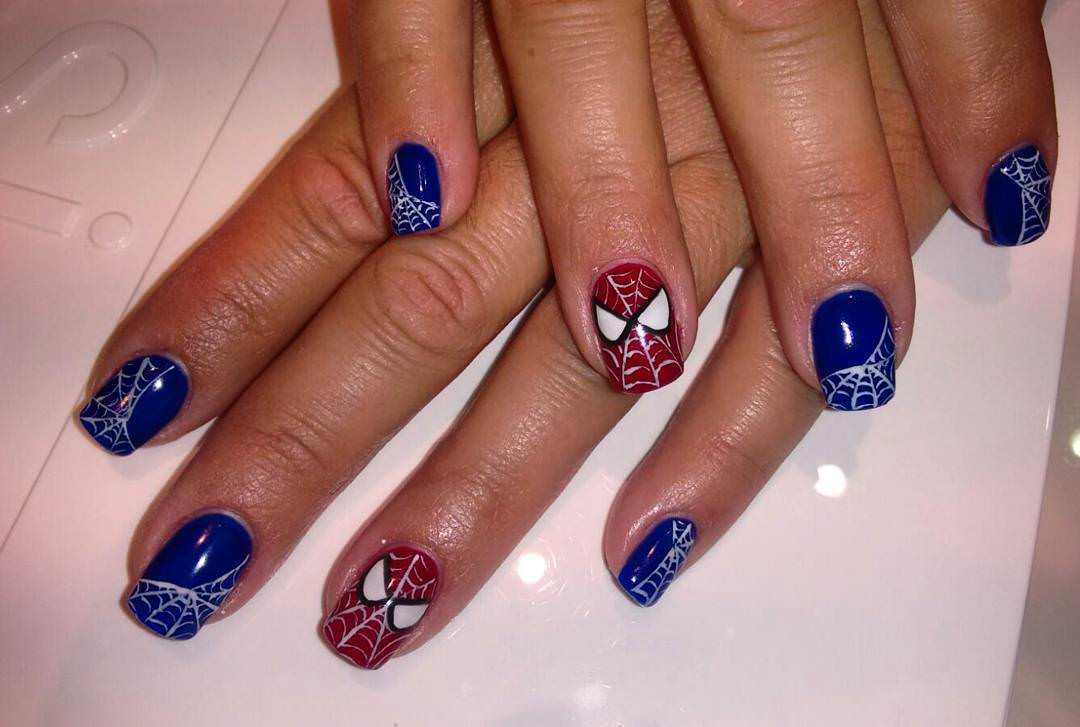28 funny acrylic nail art designs ideas design trends spiderman nail design prinsesfo Choice Image