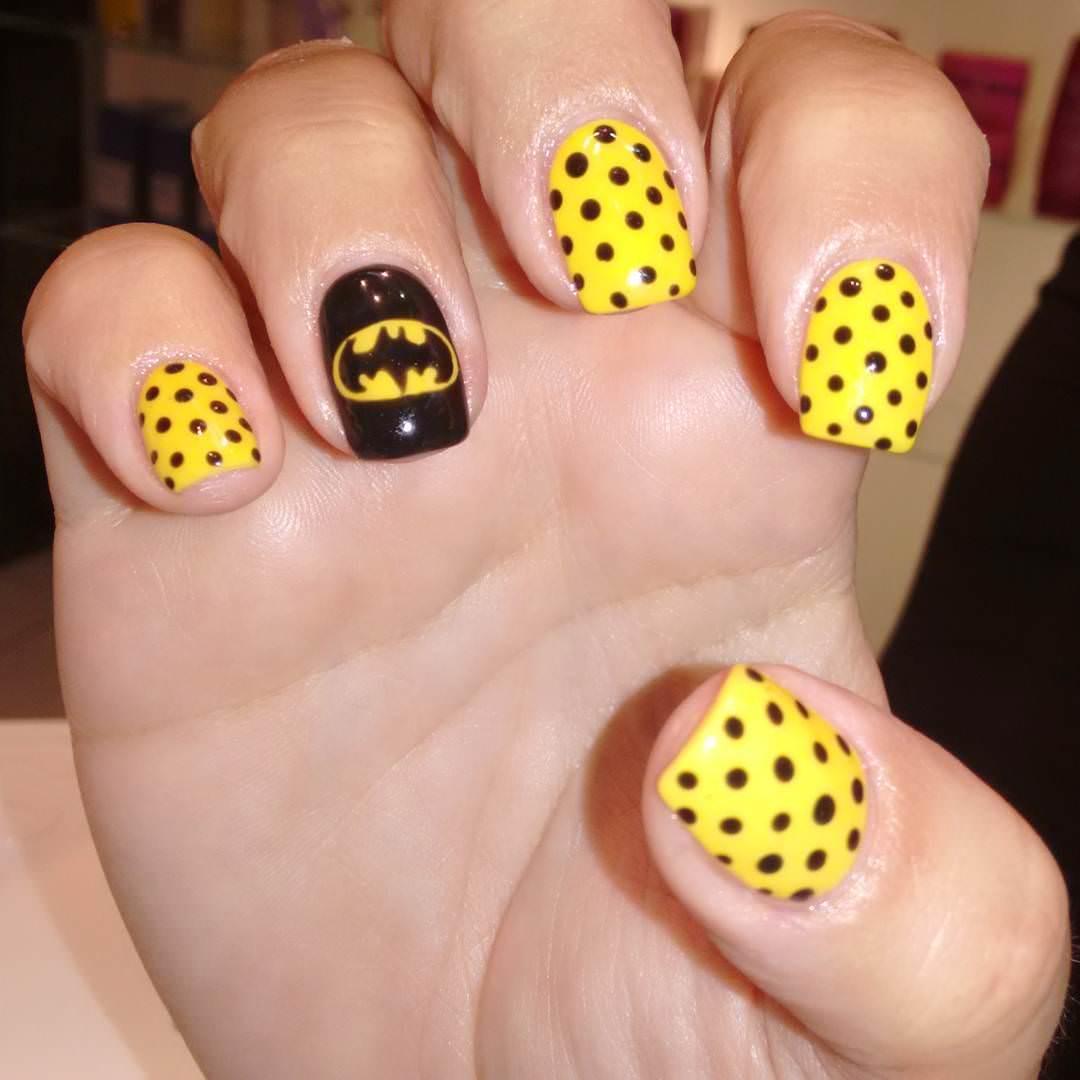 Black Dots Yellow Nail Design