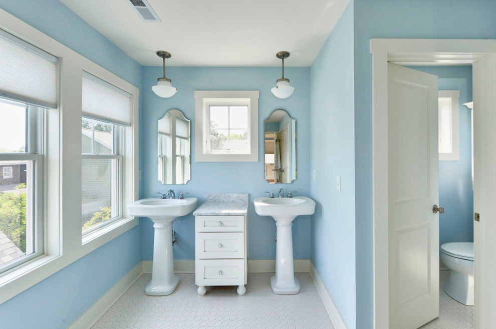 Blue Bathroom Pedestal Sinks Ideas