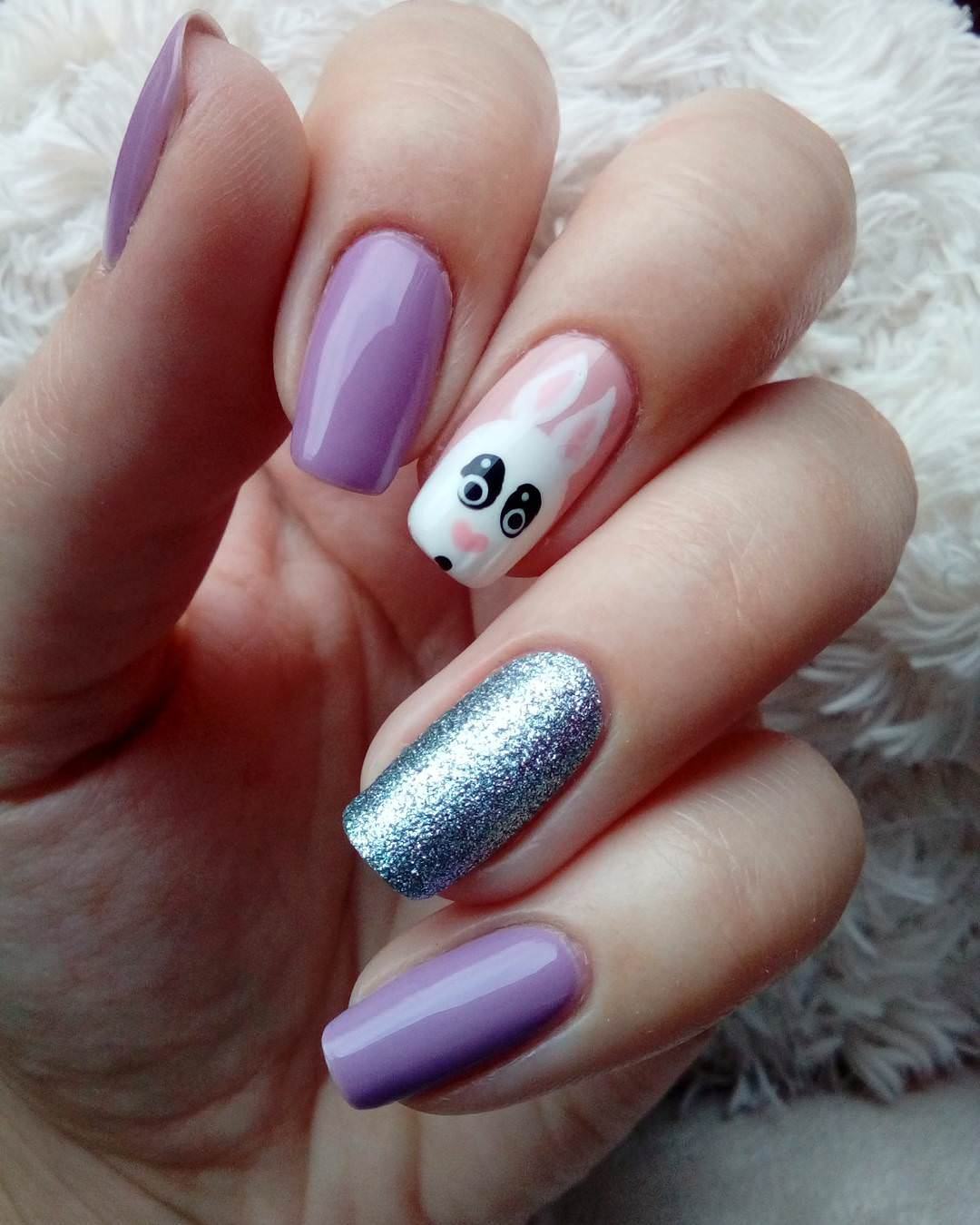 cute purple funny acrylic nails