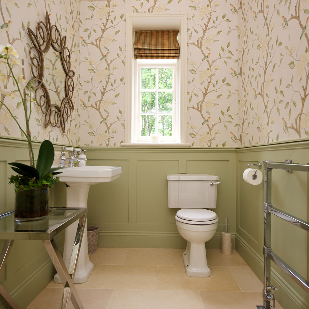 Bathroom with pedestal sink ideas - Floral Decor Bathroom Sink Ideas