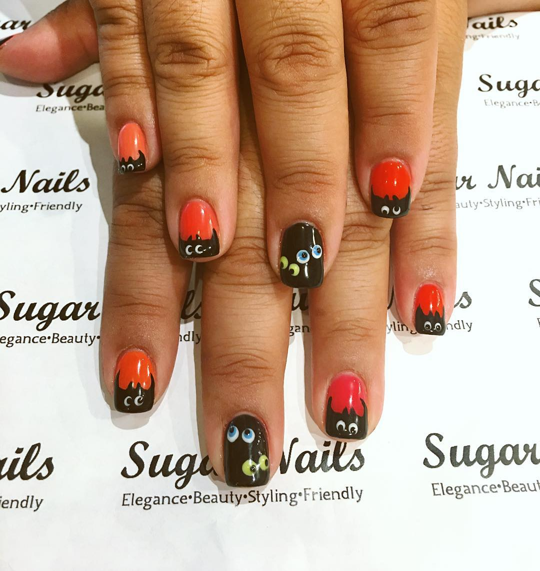 stylish and funny acrylic nail design idea
