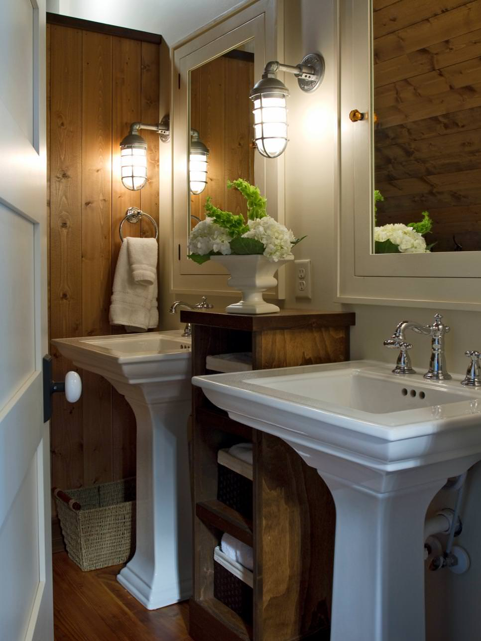 Wooden Bathroom with Pedestal Sinks Ideas