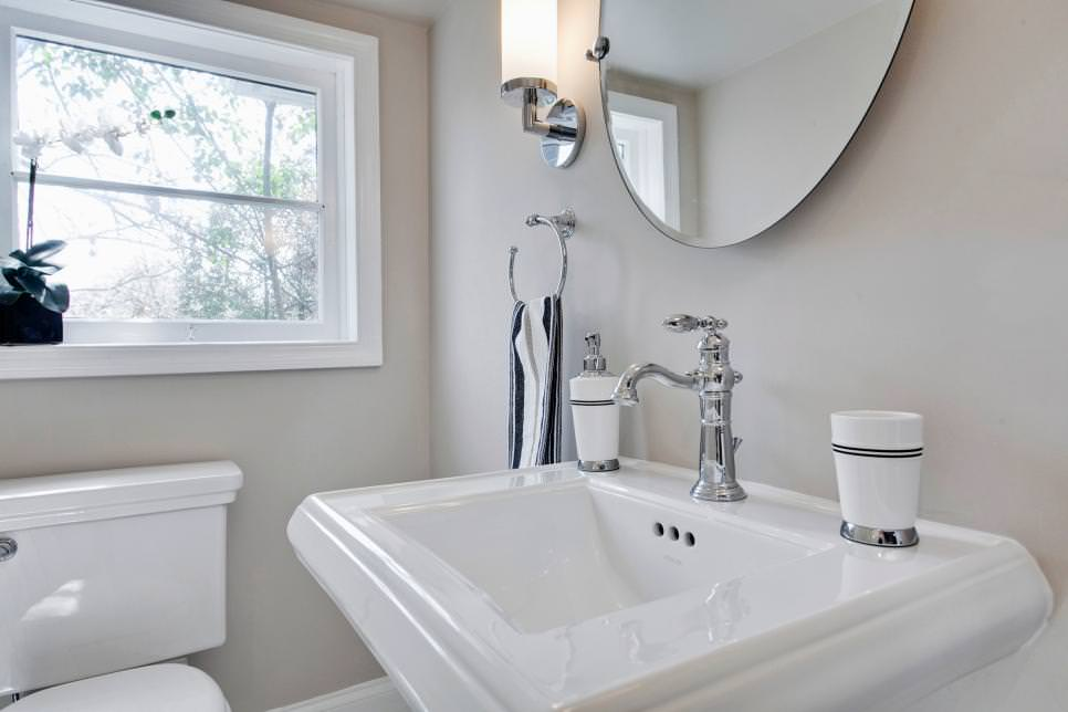 Square White Pedestal Sink Model