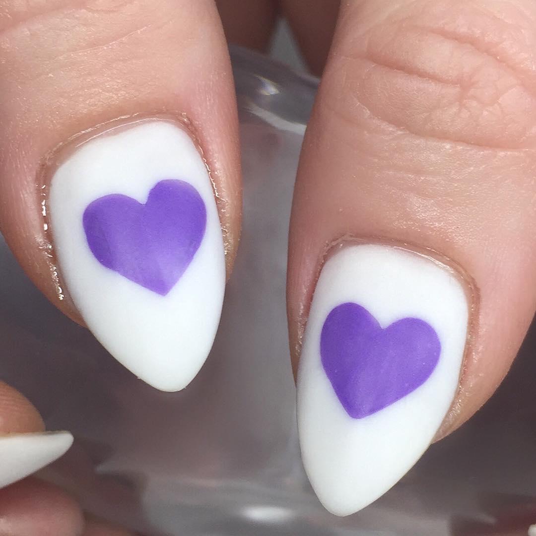 Blue Heart Acrylic Nails