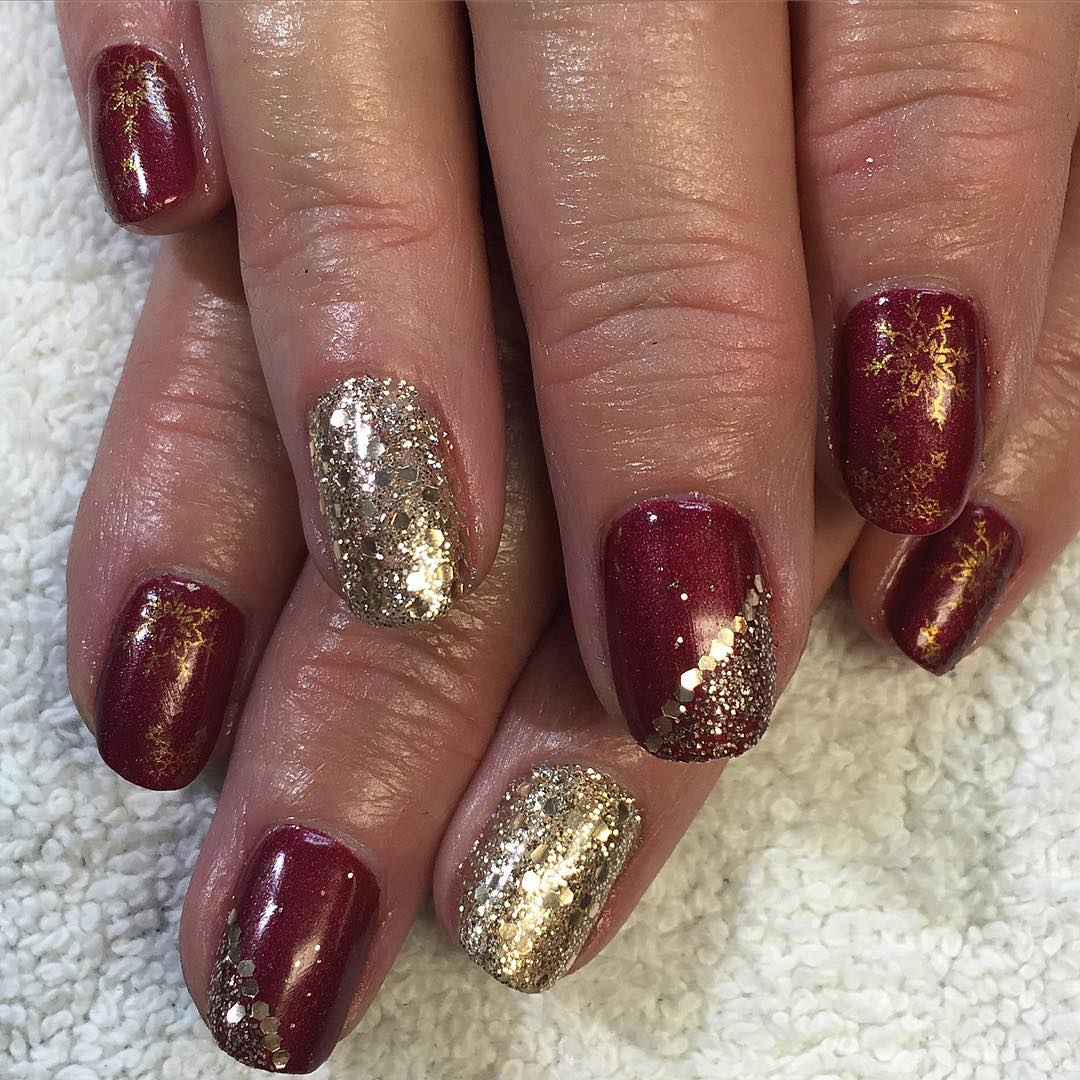 Amazing Glitter Red and Gold Nails
