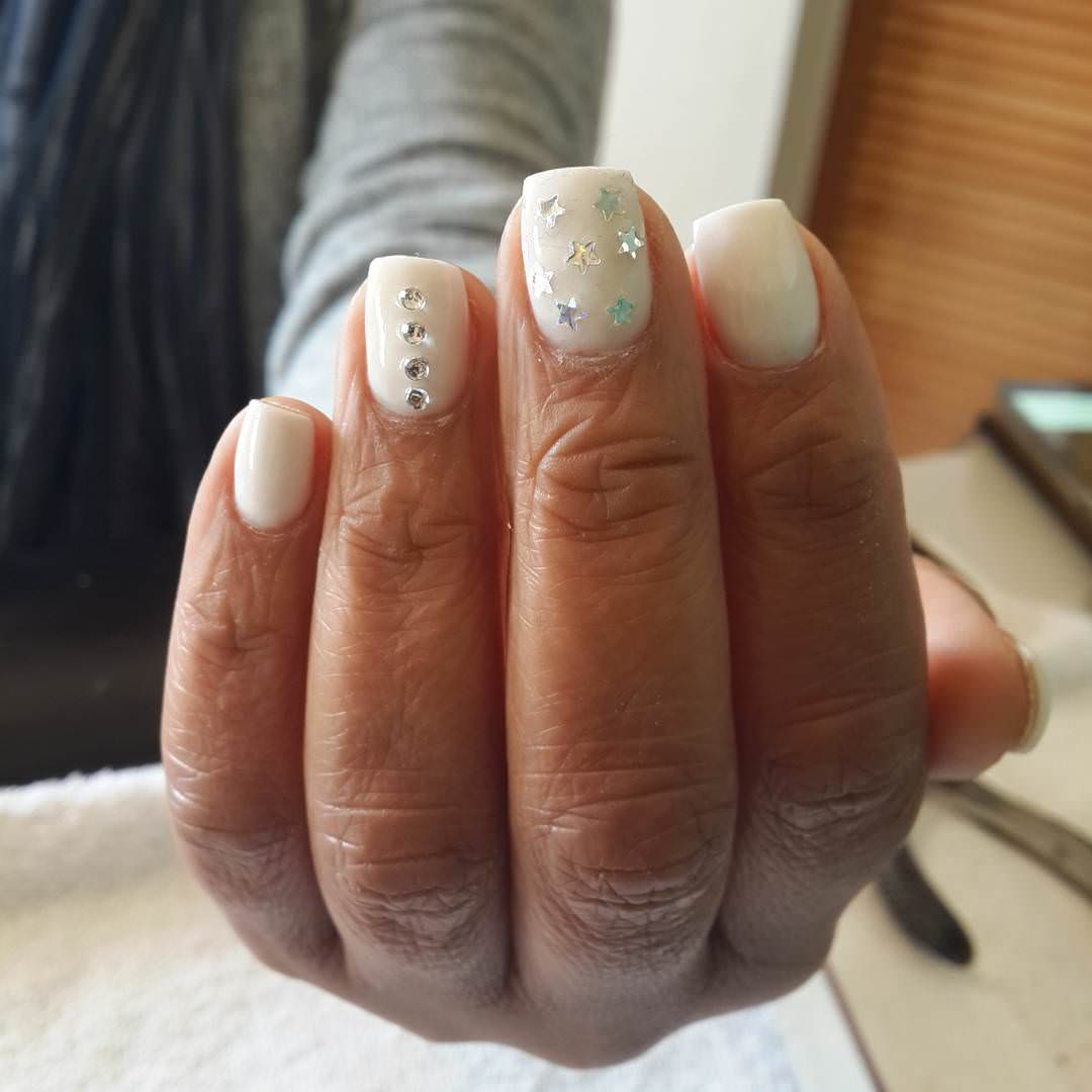 White Acrylic Star Nails Design