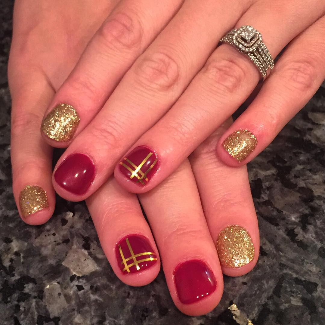 27+ Red And Gold Nail Art Designs, Ideas