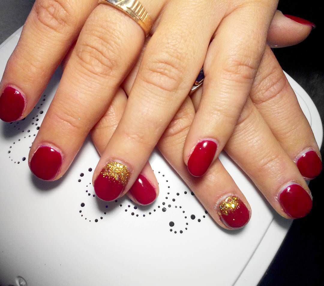 Designed Red & Gold Nail Design