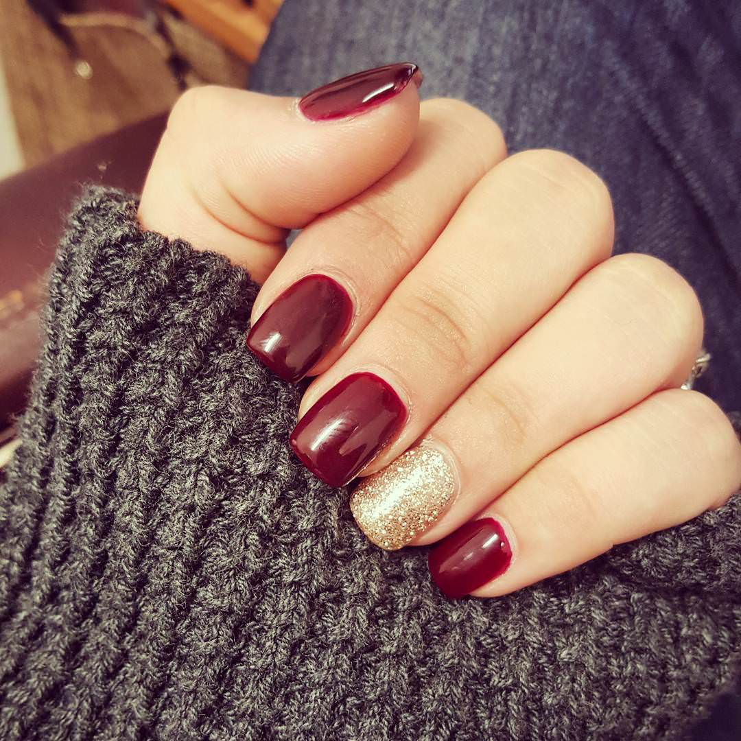 dark red and golden awesome nails